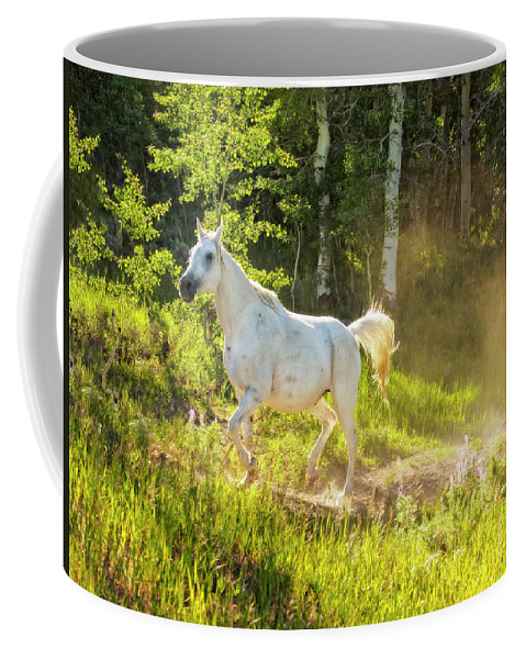 Wyoming Coffee Mug featuring the photograph Coming Through The Dust by Kay Brewer