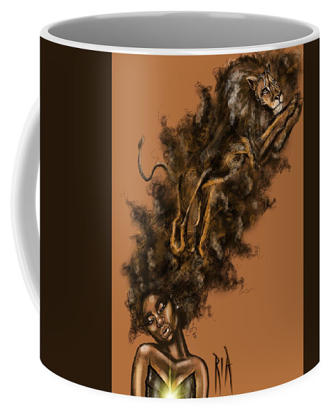 Lion Coffee Mug featuring the painting Courageous Me by Artist RiA