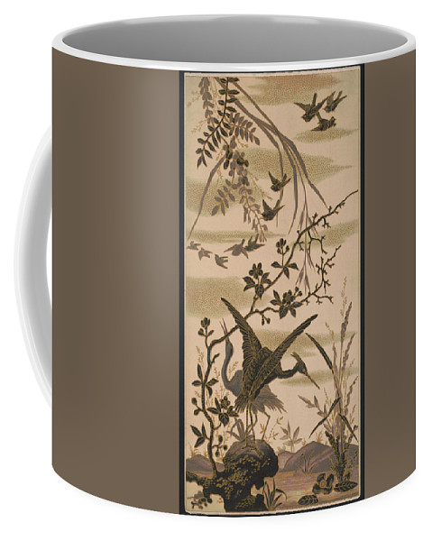 Crane Coffee Mug featuring the pyrography Cranes And Birds At Pond 1880 by Daniel Hagerman