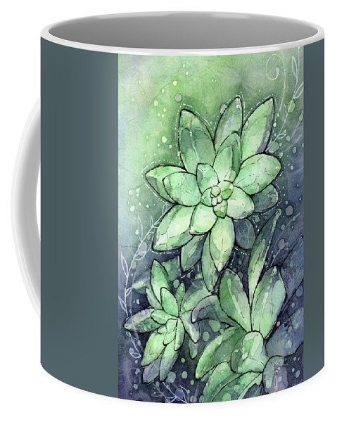 Succulent Coffee Mug featuring the painting Crystal Succulents by Olga Shvartsur