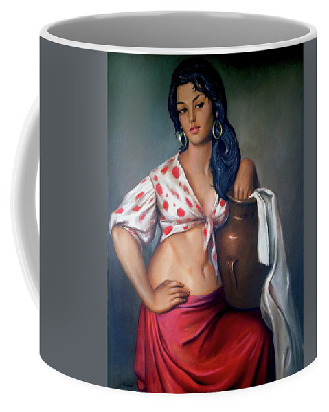 Lady Coffee Mug featuring the painting Cuban Girl by Jose Manuel Abraham