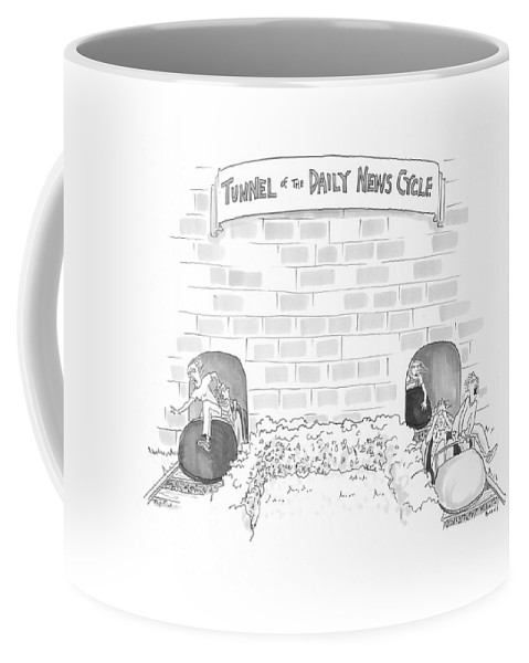 Captionless Coffee Mug featuring the drawing Daily News Cycle by Teresa Burns Parkhurst