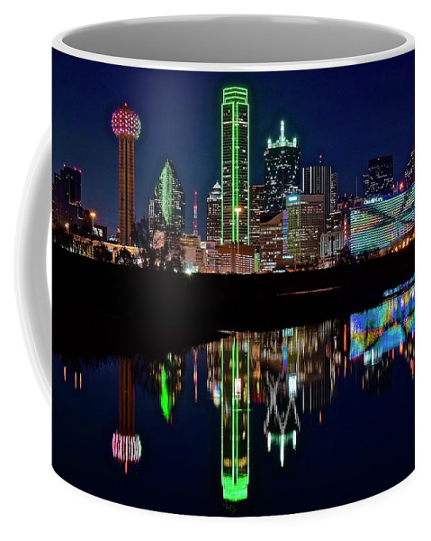Dallas Coffee Mug featuring the photograph Dallas Reflecting At Night by Frozen in Time Fine Art Photography