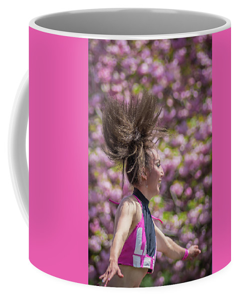 Cherry Blossoms Coffee Mug featuring the photograph Dancing And Cherry Blossoms by Ann Marie DiLorenzo