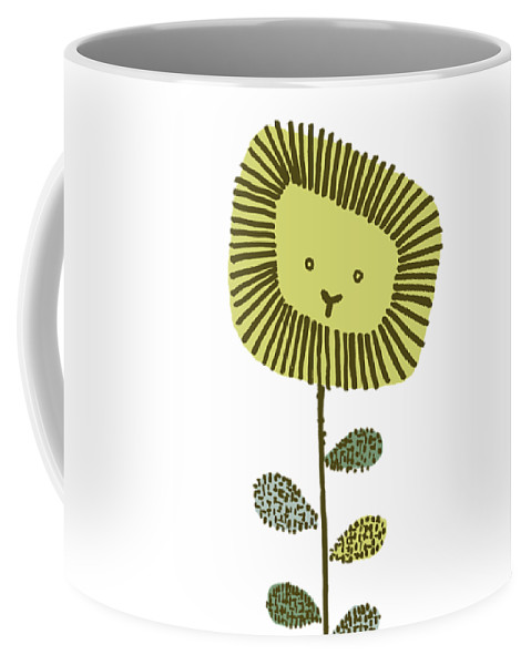 Lion Coffee Mug featuring the drawing Dandy by Eric Fan