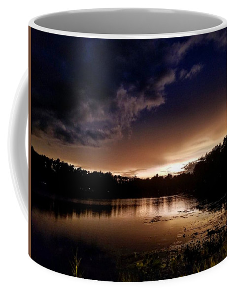 Sunset Coffee Mug featuring the photograph Dark Reflections by Shena Sanders