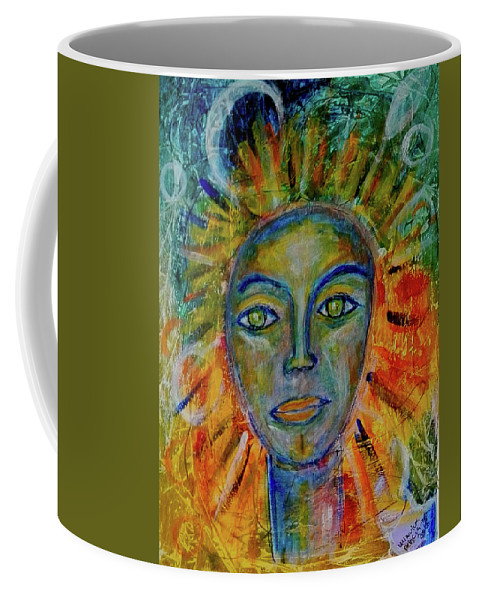 Sun Coffee Mug featuring the painting Daughter Of The Sun And Moon by Mimulux patricia No