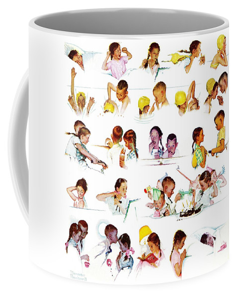 Birthdays Coffee Mug featuring the drawing Day In The Life Of A Girl by Norman Rockwell
