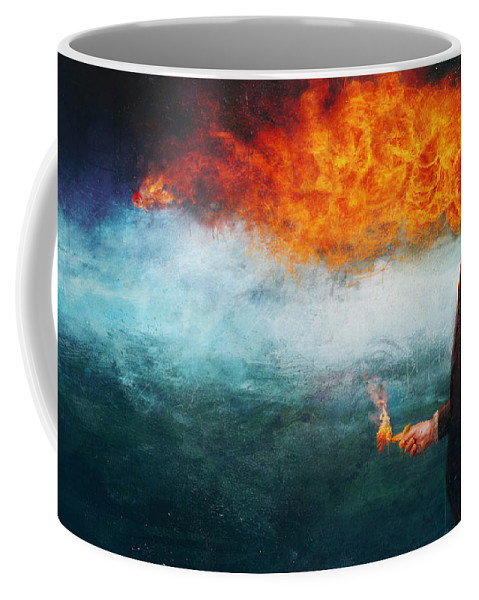 Fire Coffee Mug featuring the painting Deep by Mario Sanchez Nevado