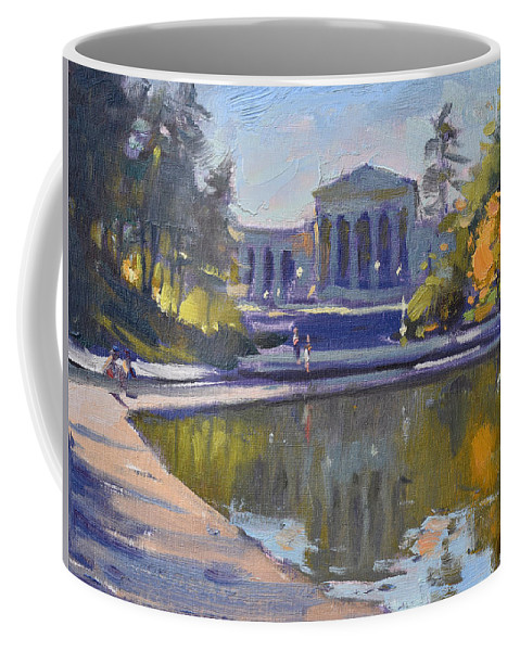 Delaware Park Coffee Mug featuring the painting Delaware Park Buffalo by Ylli Haruni