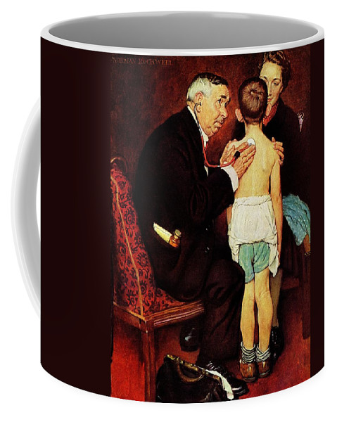 Doctor Coffee Mug featuring the drawing Doc Melhorn And The Pearly Gates by Norman Rockwell