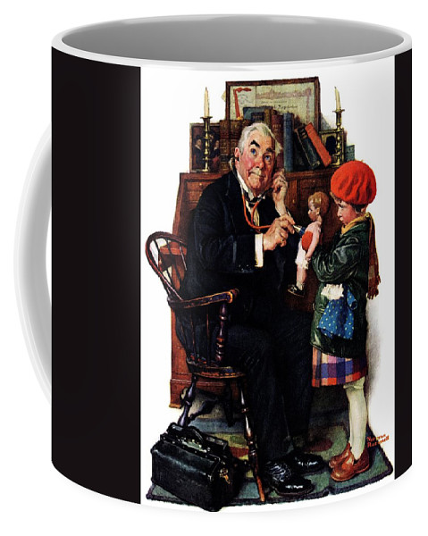 Doctors Coffee Mug featuring the drawing Doctor And The Doll by Norman Rockwell