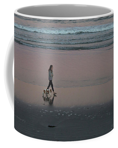 Pink Sky Reflection Coffee Mug featuring the photograph Dog Walking Along The Beach by Bill Ryan