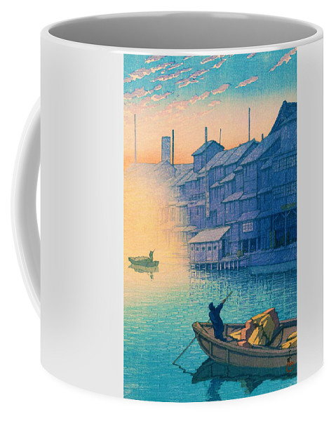Edo Period Coffee Mug featuring the painting Dotonbori Morning - Top Quality Image Edition by Kawase Hasui