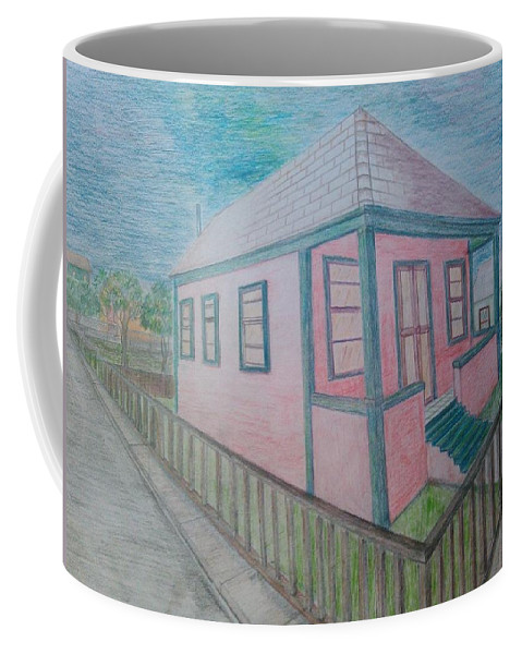 Drawing By Andrew Johnson Coffee Mug featuring the drawing Dream Cottage by Andrew Johnson