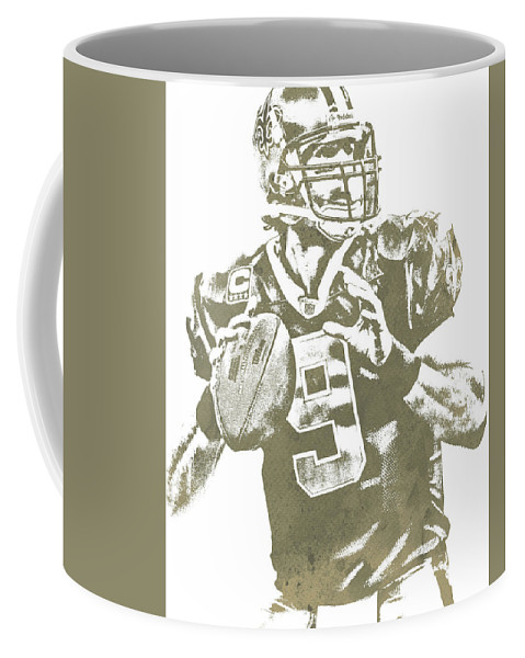 Drew Brees Coffee Mug featuring the mixed media Drew Brees New Orleans Saints Water Color Pixel Art 30 by Joe Hamilton