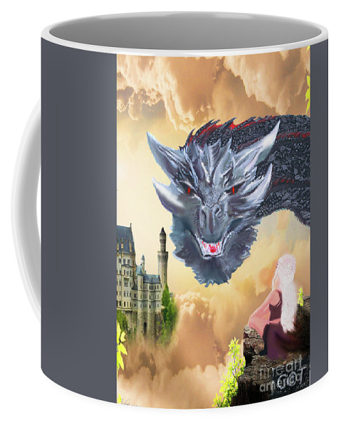 Game Of Thrones Coffee Mug featuring the mixed media Drogon by Leah Fretwell