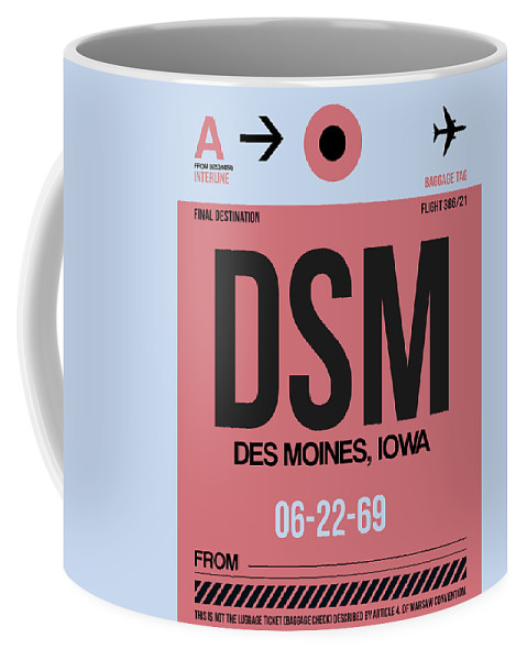 Vacation Coffee Mug featuring the digital art Dsm Des Moines Luggage Tag I by Naxart Studio