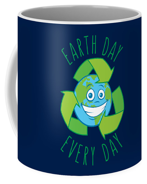 Green Coffee Mug featuring the digital art Earth Day Every Day Recycle Cartoon by John Schwegel