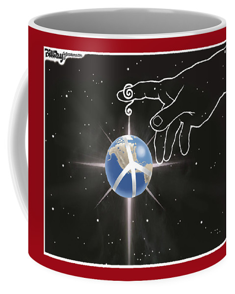 Coffee Mug featuring the drawing Peace On Earth by Bill Day