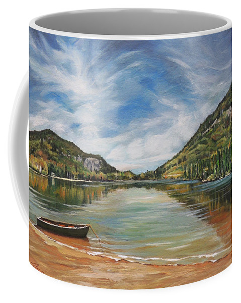 Echo Lake Coffee Mug featuring the painting Echo Lake in Franconia Notch New Hampshire by Nancy Griswold