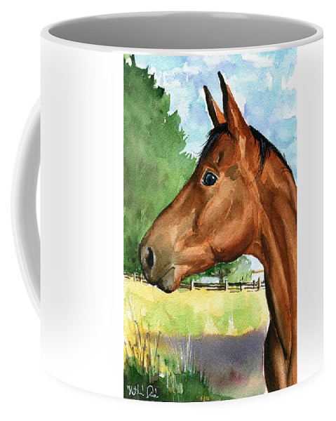 Horse Coffee Mug featuring the painting Eddie Horse Painting by Dora Hathazi Mendes