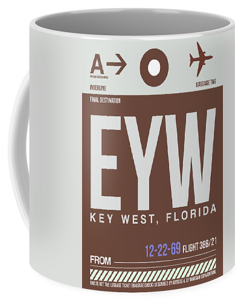 Key West Coffee Mug featuring the digital art Eyw Key West Luggage Tag II by Naxart Studio