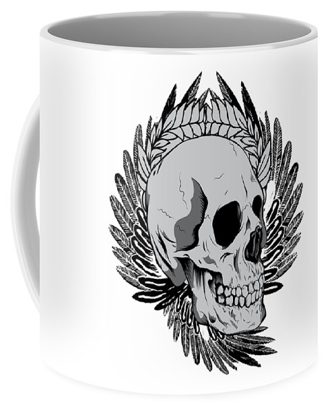 Halloween Coffee Mug featuring the digital art Feathered Skull by Passion Loft