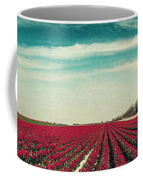 Flowers Coffee Mug featuring the photograph Field Of Red Tulips Panorama by Dirk Wuestenhagen