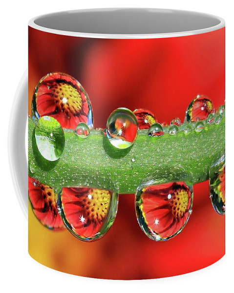 Water Drops Coffee Mug featuring the photograph Firey Drops by Gary Yost