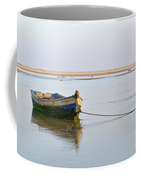 Boat Coffee Mug featuring the photograph Fishing Boat Resting On The Low Tide by Angelo DeVal