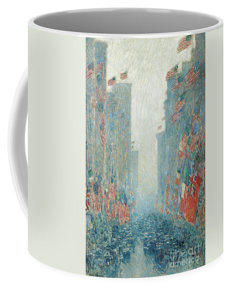 Hassam Coffee Mug featuring the painting Flags, Afternoon On The Avenue, 1917 by Childe Hassam