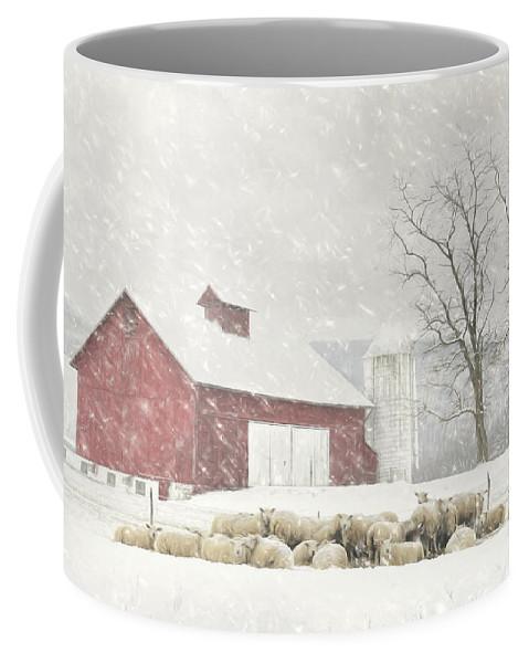 Barn Coffee Mug featuring the mixed media Flock Of Sheep by Lori Deiter