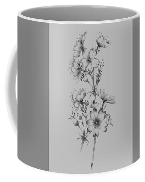 Flower Coffee Mug featuring the mixed media Flower Drawing II by Naxart Studio