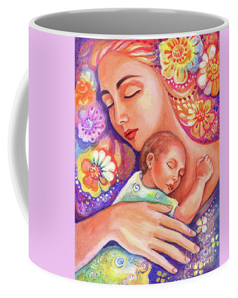 Mother And Child Coffee Mug featuring the painting Flower Nap by Eva Campbell