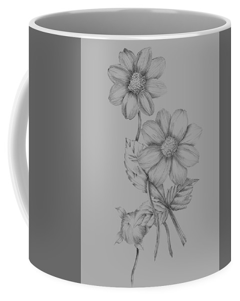 Flower Coffee Mug featuring the mixed media Flower Sketch by Naxart Studio