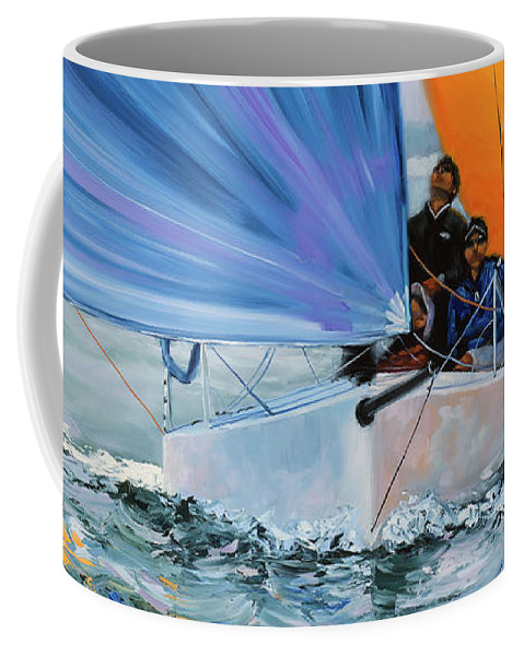 Sailing Coffee Mug featuring the painting Flying Colors Two by Laura Lee Zanghetti
