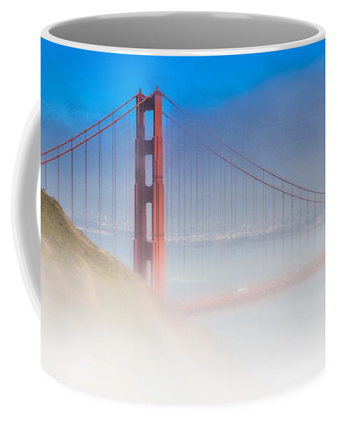 A Foggy Golden Gate Bridge Coffee Mug featuring the photograph Foggy Gateway by Tommy Anderson