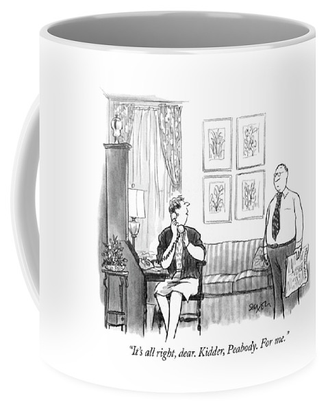 """it's All Right Coffee Mug featuring the drawing For Me by Charles Saxon"