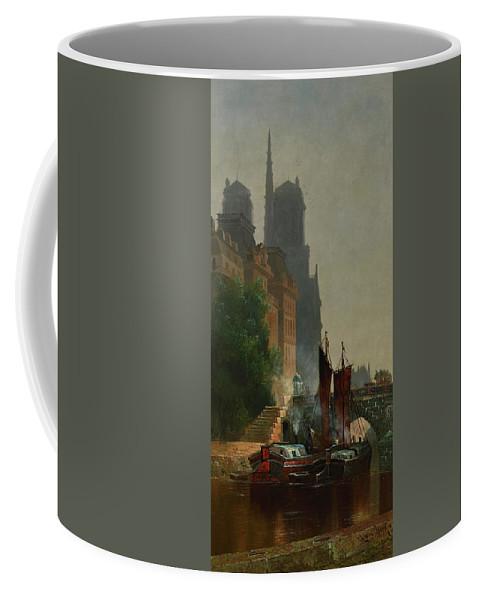 Edwin Deakin Coffee Mug featuring the painting For Notre Dame, Foggy Morning by Edwin Deakin