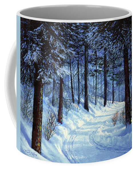 Landscape Coffee Mug featuring the painting Forest Road by Frank Wilson