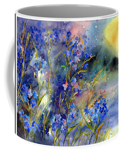 Cosmic Coffee Mug featuring the painting Forget-me-not Watercolor by Suzann Sines