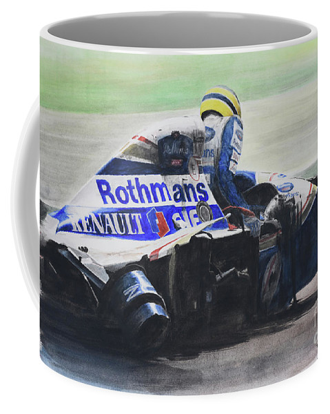 Formula One Coffee Mug featuring the painting Formula Alone by Oleg Konin