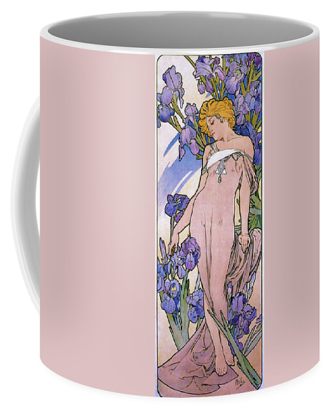 Alfons Maria Mucha Coffee Mug featuring the painting Four Flowers, Iris - Digital Remastered Edition by Alfons Maria Mucha