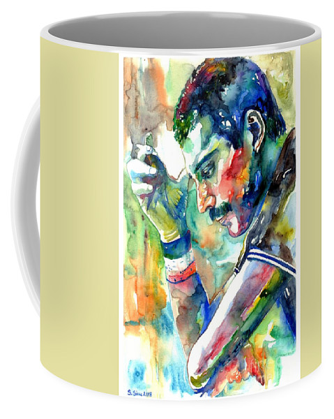 Freddie Mercury Coffee Mug featuring the painting Freddie Mercury With Cigarette by Suzann Sines