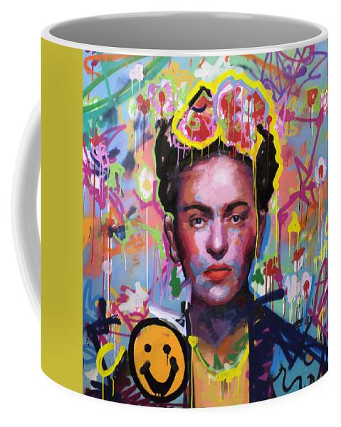 Frida Kahlo Coffee Mug featuring the painting Frida Kahlo by Richard Day