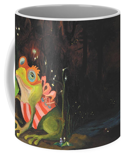 Frogs Coffee Mug featuring the painting Frogs Of Silver Lake by Donna Hall