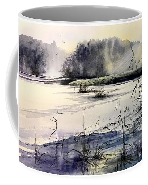 Winter Coffee Mug featuring the painting Frozen Pond by Suzann Sines