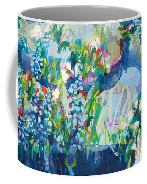 Abstract Coffee Mug featuring the painting Full Bloom by Claire Desjardins