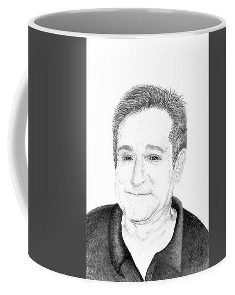 Pencil Coffee Mug featuring the drawing Funny Man Robin Williams by Jennifer Campbell Brewer